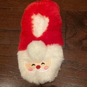 Kids Christmas Unisex Fuzzy Santa Slippers Size M/L